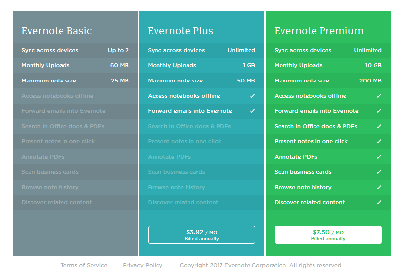 Evernote plans offered for personal users. Business plan is available.